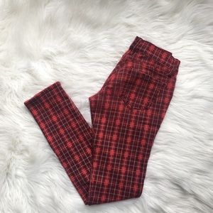 Red Plaid Skinny Jeans❤️